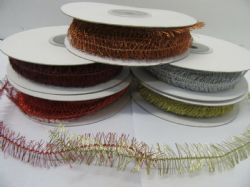 10mm Fringe Thread Ribbon 2 metres or 15 metre Roll mini small tinsel 1cm 10 mm